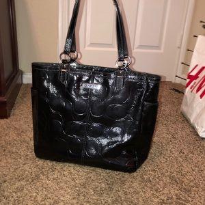 Coach med/large patten leather black purse